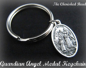 Guardian Angel Medal Keychain