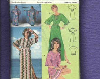 1970's Burda 62260 Retro Caftan or Tunic with Split Neckline & Bell Sleeves Size 16..18..20