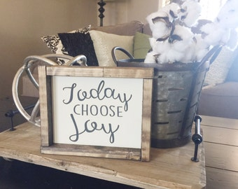 Today Choose Joy, Mini frames, Gifts for her, Wood signs, Home & living, Wood sign sayings, Farmhouse style sign