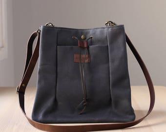 Waxed Canvas Bag, Crossbody Bag, Shoulder Bag, Waxed canvas tote bag, leather straps, NAROA grey