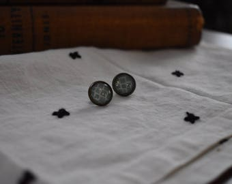 Teal Geometric, Glass Stud Earrings, Mid-Century Modern, 12 mm, Cabochon