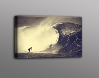 Big Wave Surfer Photo Canvas Print Surf Art Home Decor