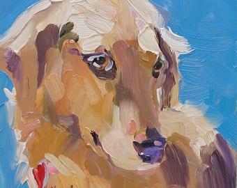 dog painting Golden Retriever , canine painting , oil painting , small painting , 6 x 6 inch painting , Golden Retriever , gift , Birthday