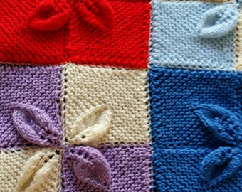 Hand knit colorful baby blanket