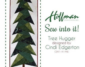Tree Hugger Quilt Kit in Pine by Cindi Edgerton, Hoffman Fabrics, Holiday Pre-cut Quilt Top Kit