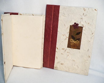 Handmade paper journal, handmade journal, hand bound and decorated cover journal