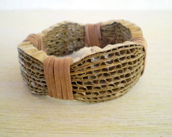 Cardboard Brown Bracelet Recycled Paper Jewelry Thick Bangle Bracelet Eco Friendly FREE SHIPPING / Χειροπέδα από Χαρτόκουτα