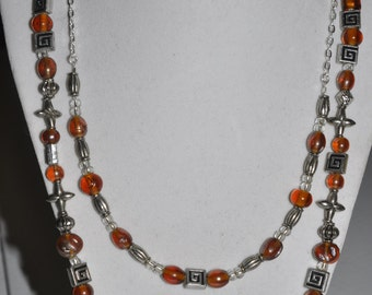 Silver Necklace Double Strand Amber Orange #494 One Of A Kind