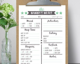 Instant Download   Nanny Notes   Child Care Provider Notes   Babyu0027s  Schedule   Baby Feeding