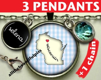 """Wisconsin map necklace / pendant / jewelry / state map / jewellery/ pendant / necklace / key chain / key ring / key fob / Souvenir """"n049A"""""""