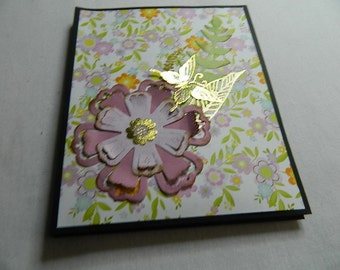 Note card holder, folder/folio, black with floral with 6 blank note cards