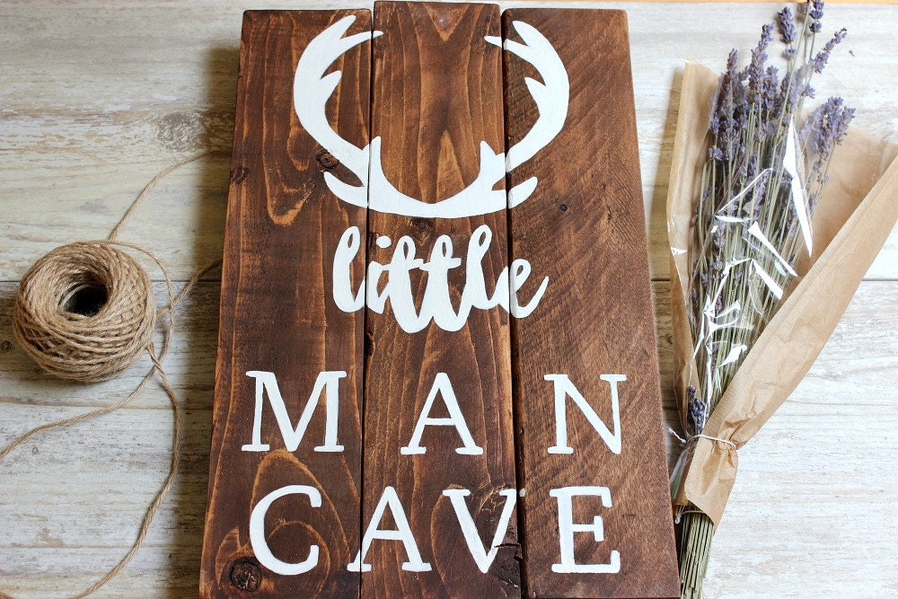 Personalized Man Cave Signs Etsy : Woodland nursery decor boy little man cave sign deer antlers