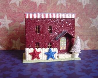 Patriotic paper village putz style flat roof house