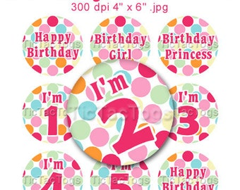 Birthday Girl Bottle Cap Art Set Polka dot 1 Inch Circles Round Graphics Digi Collage 4x6 - Instant Download - BC322