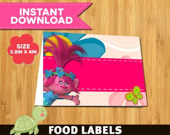 15 Troll Food Tent Cards instant download- Printable Troll food Labels- Troll labels party printable