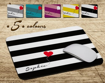 Personalized Mouse Pad Soft Fabric Top Heavy duty natural rubber backing Custom made unique name monogram and heart balloon stripes