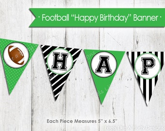Football Happy Birthday Banner - Instant Download