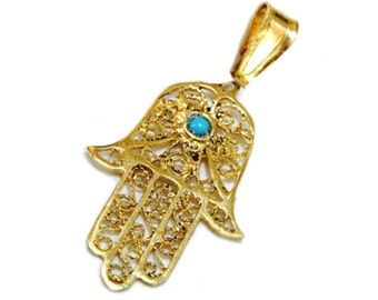 Elegant 14k Gold Filigree Turquoise Hamsa Pendant