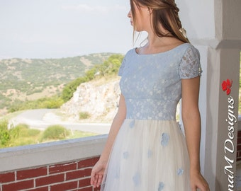 Long Wedding Dress, 50s Wedding Gown, Blue Bridal Dress, Blue Lace Dress, Tulle Wedding Gown, Long Bidal Dress, Handmade Gown, Agnese
