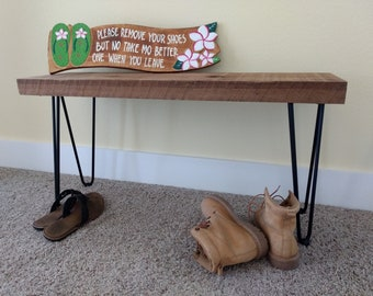 Hairpin leg bench, reclaimed wood bench, reclaimed wood hairpin bench, entryway bench, rustic wood bench, hairpin leg furniture, wood bench