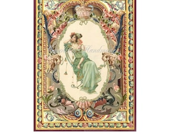 """Nouveau Lady Collage Cotton Fabric Quilt Block (1) @ 5X7"""" on 8.5X11"""" Sheet"""