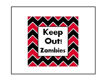 Zombie Cross Stitch Pattern - Funny Text CrossStitch Chevron Stripe Pattern, Instant Download PDF
