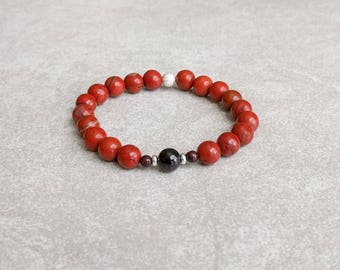 Red Jasper Yoga Bracelet - Chakra Bracelet - Root Chakra - MULADHARA - 1st Chakra - Gemstone Bracelet - Energy Bracelet - Item # 304