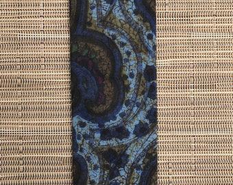 1950's-1960's Blue Skinny Necktie - Flat Tie - Paisley Pattern - by Rooster - Benjamin of Mackinac - Rockabilly VLV
