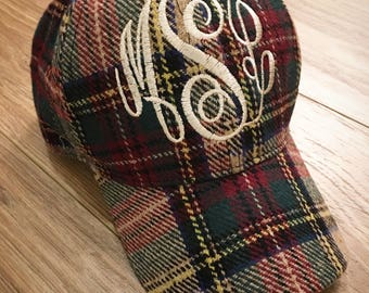 Cute plaid flannel monogrammed hat! Embroidered and makes SUCH a great gift! Stay warm AND cute! Fall Christmas Winter Valentines etc