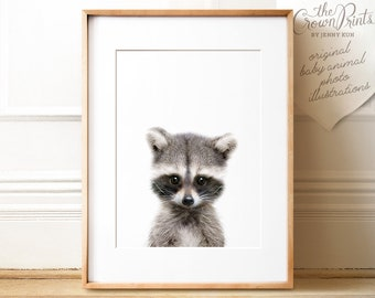 Raccoon print, Woodland animals, PRINTABLE decor, Forest animal, Animal art, Baby animals, Raccoon art print, Woodland baby shower, Kids art