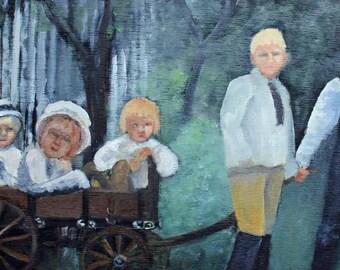 Wagon Studebaker Junior Original Oil Painting Children Playing Prints Giclee Fine Art Carol Lytle Lytlebitartistic Free Shipping #68