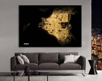 ANCHORAGE Alaska Night Lights Map Large Horizontal Wall Art Map Anchorage AK Modern Art Neon City Street Map of Anchorage NLM
