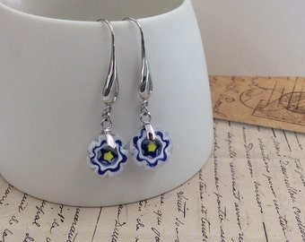 Flower Millefiori Earrings - Handmade Fused Glass
