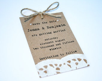 Wedding save the date card - Kraft, Rustic, Pearl, Doily