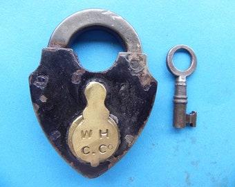 """Antique Smokehouse Padlock W/ Key. """"W. H. C. Co."""""""