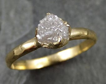 18k Raw Diamond Engagement Ring Rough Gold Wedding Ring diamond Wedding Ring Rough Diamond Ring 0472