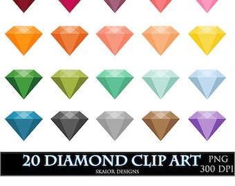 Diamonds Clipart Vector Gems Clip Art Digital Gemstone Engagement Wedding Clipart Invitations Card Making Digital Scrapbooking Bridal Shower