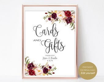 Printable Cards and Gifts Sign Instant Download Editable PDF 4x6, 5x7, 8x10 Wedding Cards and Gifts Sign Cards&Gifts Printable DIY Boho Chic