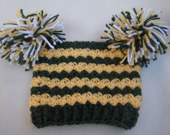 Crocheted Little Girl Football Team Hats, Packers or (You Can Choose Any Team, Pro, College) - Made to Order