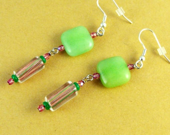 SALE! Preppy Spring Green and Pink Earring.Handmade Jewelry. Gift for her. St Patrick's Day. Mother's Day