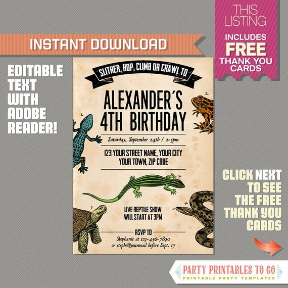 Reptile Party Invitation with FREE Thank you Card INSTANT
