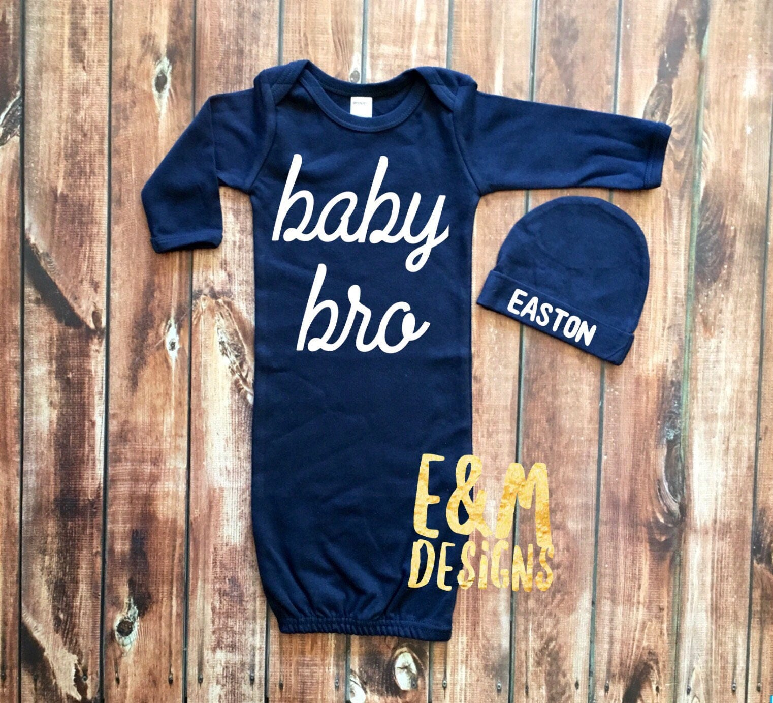 Baby Brother Navy and White Newborn Gown Baby Bro Monogrammed
