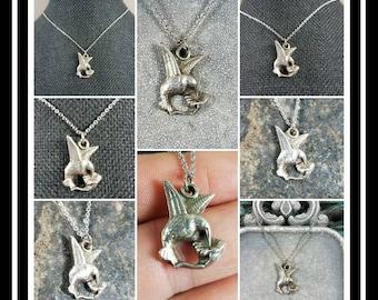 Hummingbird Memorial Ash Pendant Necklaces/Cremation Pendant Necklace/Hummingbird charm /Dragonfly charm/ 99.9 Solid Silver