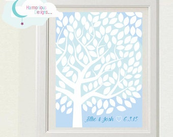 Wedding Tree, 120 Signatures 12 x 16 inchs, Blue, White, Custom Digital Download, Personalised, Guests
