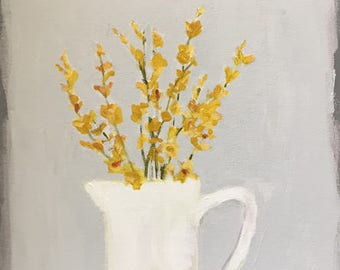 original flower painting yellow flowers yellow and grey and white art 12x12