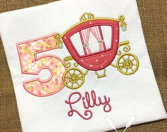 Princess Birthday Shirt / Princess Applique / Princess Carriage Shirt / Girl Princess Shirt / 1st Birthday Shirt / Princess Birthday Outfit