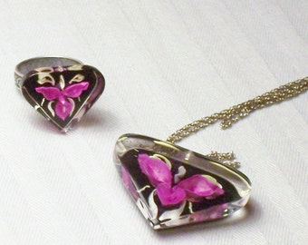 Vintage Reverse Carved Lucite Orchid Necklace and Repurposed Adjustable Ring Set