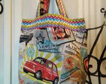 Shopper bag ' Italian graffiti ' bag fabric