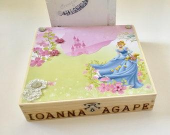 Keepsake Box-Martirika Box-Witness Pins Box-Cinderella Box-Wooden Box-Personalized Box-Greek Baptism