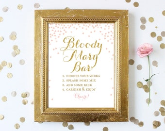 Bloody Mary Bar Sign with Directions .  8x10 Bridal Shower Printable Sign . Pink and Gold Glitter . Digital Instant Download . Wedding Sign